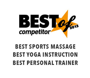 Best of Competitor 2013 awards: Best sports massage, Best yoga instructor, Best personal trainer.