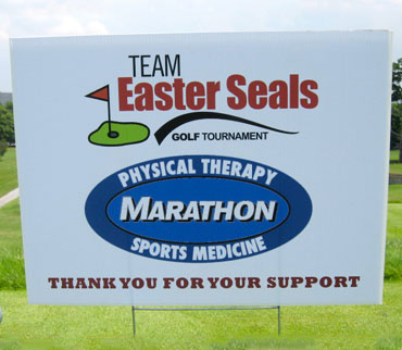Marathon Physical Therapy supporting the Team Easter Seals golf tournament.