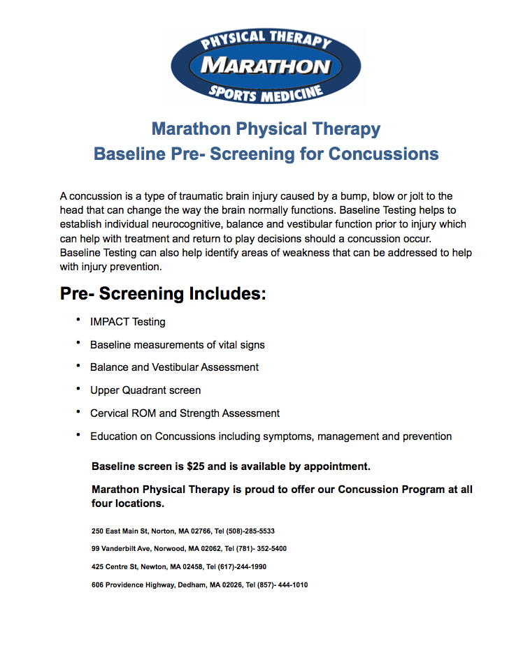 Marathon Physical Therapy And Sports Medicine 187 Concussion